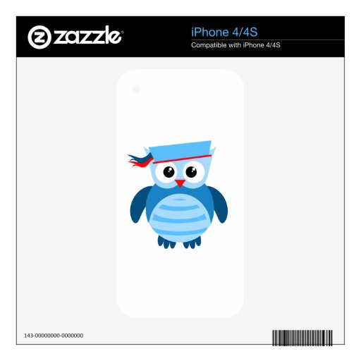 Búho náutico de los azules marinos skins para iPhone 4