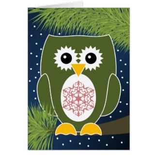 Búho Navideño con el Copo de Nieve - Tarjeta Card