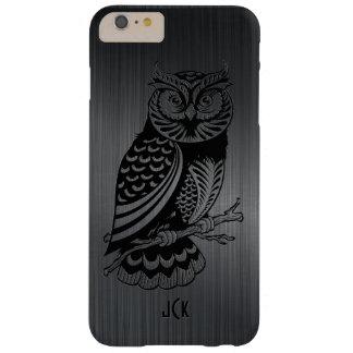 Búho negro sobre Aluminio-Monograma cepillado Funda Para iPhone 6 Plus Barely There