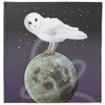 Búho Nevado en el claro de luna Servilleta Imprimida