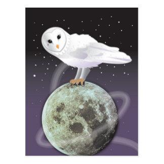 Búho Nevado en el claro de luna Tarjeta Postal