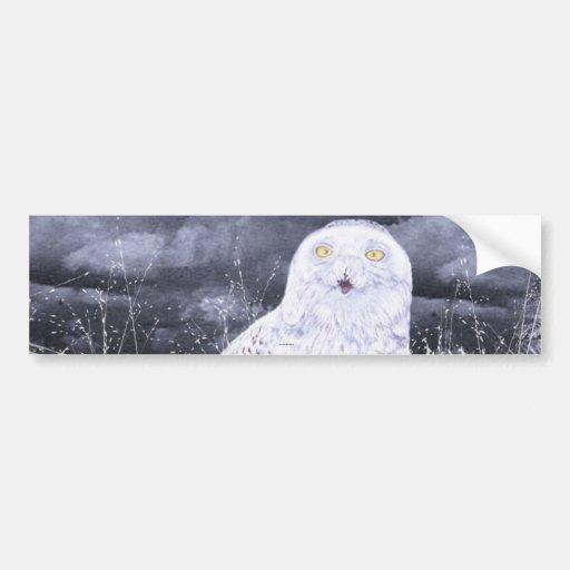 Búho Nevado: Pintado a mano por c09MarySylviaHines Pegatina Para Auto