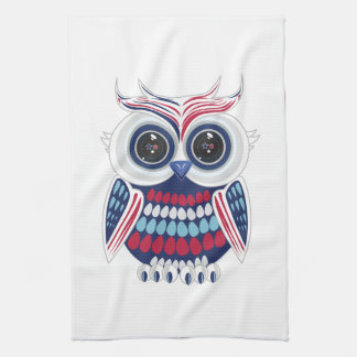 Búho patriótico - azul toalla de mano
