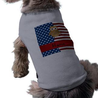 Búho patriótico conocido personalizado ropa de mascota