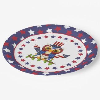 Búho patriótico el 4 de julio plato de papel de 9 pulgadas