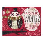 Búho peculiar del navidad tarjetas postales