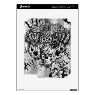 Búho perdido y encontrado, floral con el cráneo pegatinas skins para iPad 3