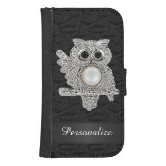 Búho personalizado de los diamantes y imagen de fundas billetera para teléfono