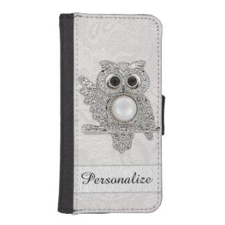 Búho personalizado de los diamantes y imagen del fundas tipo billetera para iPhone 5