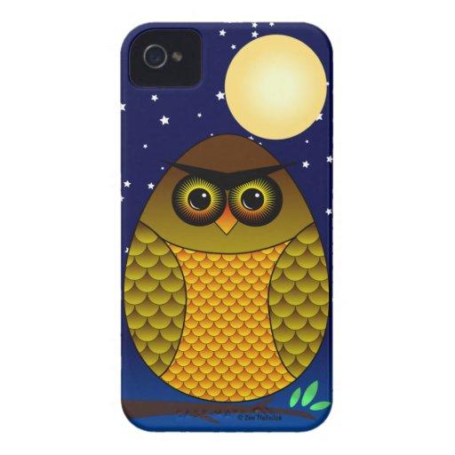 Búho polivinílico de Roly y Luna Llena Funda Para iPhone 4 De Case-Mate