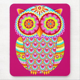 Búho psicodélico colorido Mousepad