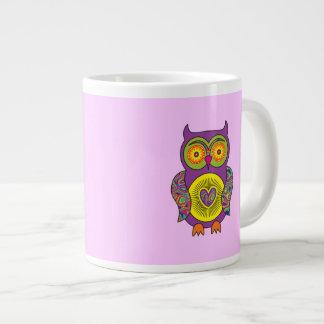 Búho psicodélico púrpura taza grande