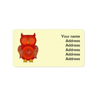 Búho psicodélico rojo etiquetas de dirección