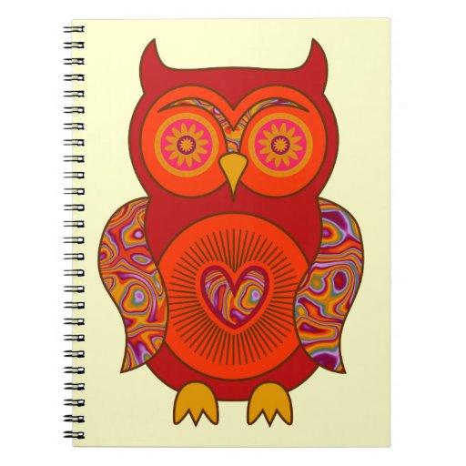 Búho psicodélico rojo libro de apuntes con espiral