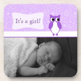 Búho púrpura con la nueva foto del bebé de los cír posavasos de bebidas