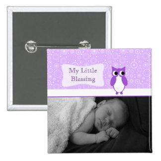 Búho púrpura con la nueva foto del bebé de los pin cuadrado