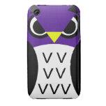 Búho púrpura de las aves iPhone 3 Case-Mate cobertura