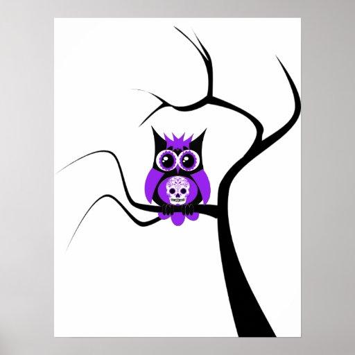 Búho púrpura del cráneo del azúcar en poster del á