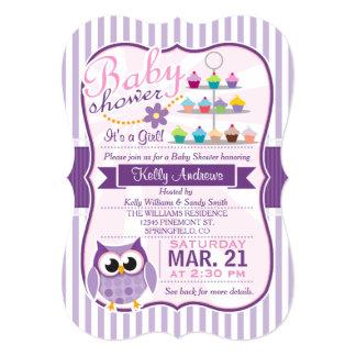 Búho púrpura del rosa y de la lavanda, fiesta de invitación 12,7 x 17,8 cm