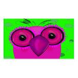 Búho púrpura enrrollado del dibujo animado en tarjetas de visita