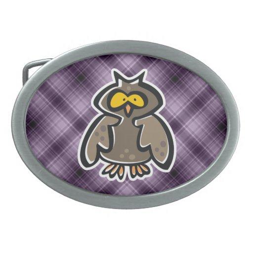 Búho púrpura hebilla de cinturón oval