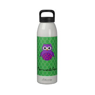 Búho púrpura lindo botella de agua
