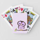 Búho púrpura lindo baraja de cartas