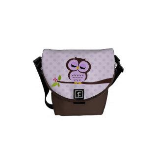 Búho púrpura lindo bolsa de mensajeria