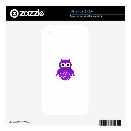 Búho púrpura lindo calcomanía para iPhone 4S