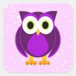 Búho púrpura lindo - fondo de la estrella calcomanía cuadradas personalizadas