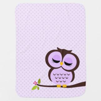 Búho púrpura lindo manta de bebé