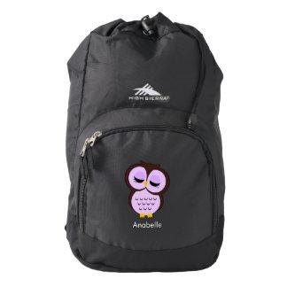 Búho púrpura lindo mochila