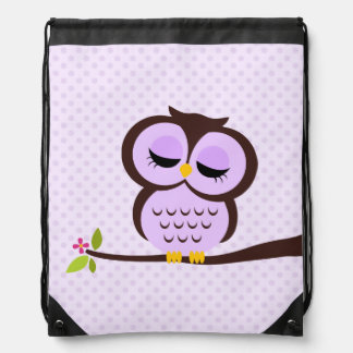 Búho púrpura lindo mochilas