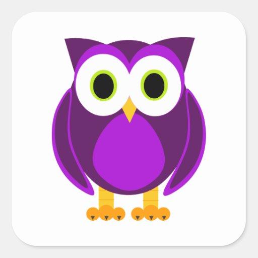 Búho púrpura lindo calcomanías cuadradass personalizadas