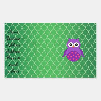 Búho púrpura lindo rectangular pegatinas