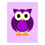 Búho púrpura lindo postal