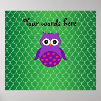 Búho púrpura lindo póster