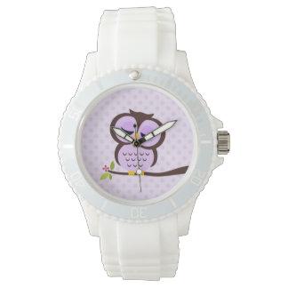 Búho púrpura lindo relojes de pulsera