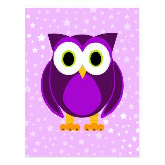 Búho púrpura lindo tarjeta postal