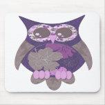 Búho púrpura Mousepad del hibisco Tapete De Ratón