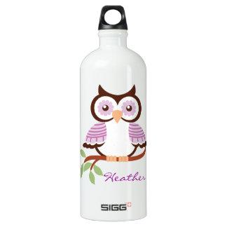 Búho púrpura personalizado botella de agua