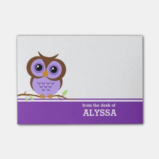 Búho púrpura personalizado post-it notas