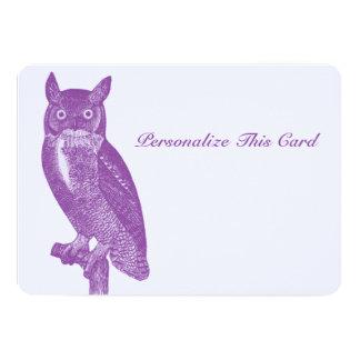 Búho púrpura sabio invitación 12,7 x 17,8 cm
