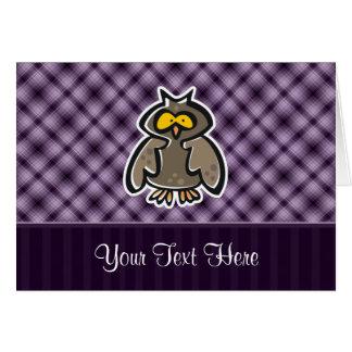 Búho púrpura tarjeta de felicitación