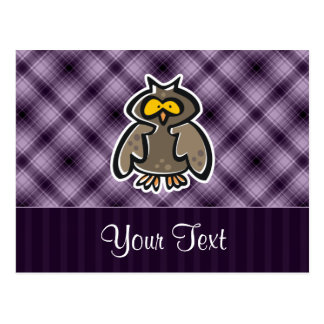 Búho púrpura tarjeta postal
