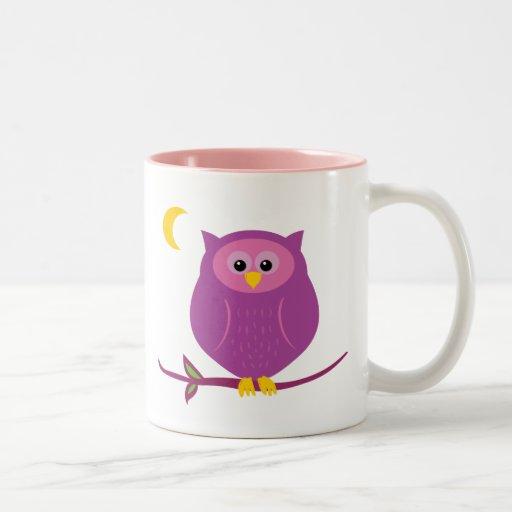 Búho púrpura taza de café