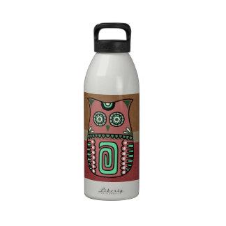 Búho retro bohemio del hippy botella de agua