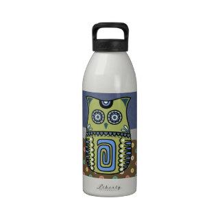 Búho retro bohemio del hippy botellas de beber