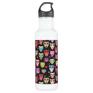 Búho retro botella de agua de acero inoxidable