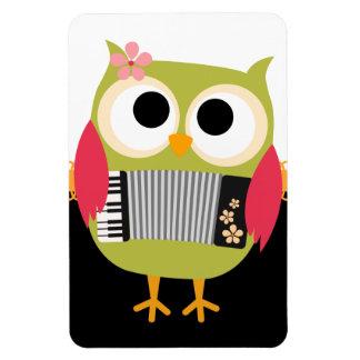 ¡Búho retro con el acordeón - lindo! Imán De Vinilo